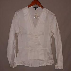 Brooks Brothers peplum white blouse